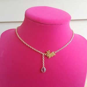 Gold Bunny Tiny Aqua Teardrop Gemstone Necklace